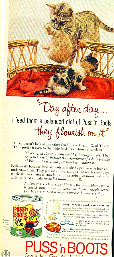 Puss 'n Boots ad Mother Tabby and Kittens (Image1)