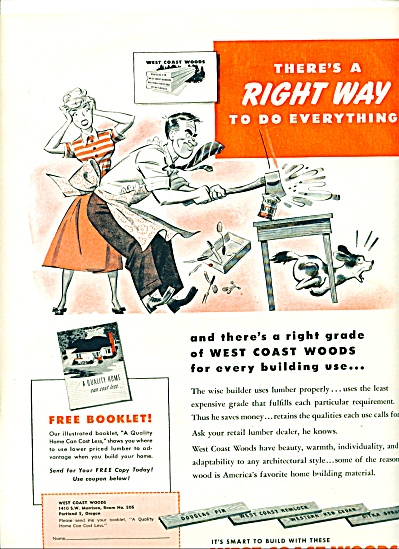 1949 West Coast woods ad MAN IN APRON ART (Image1)