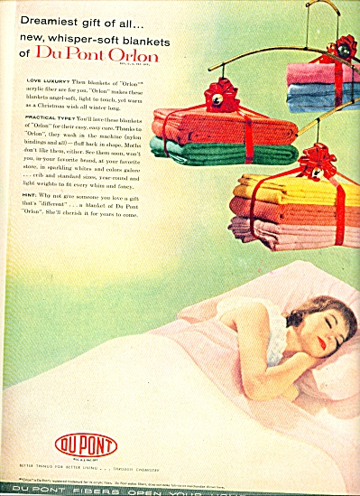 1956 Dupont orlon  AD Lady Napping w/ Blanket (Image1)