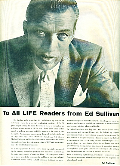 ED SULLIVAN picture and show ad 1956 (Image1)