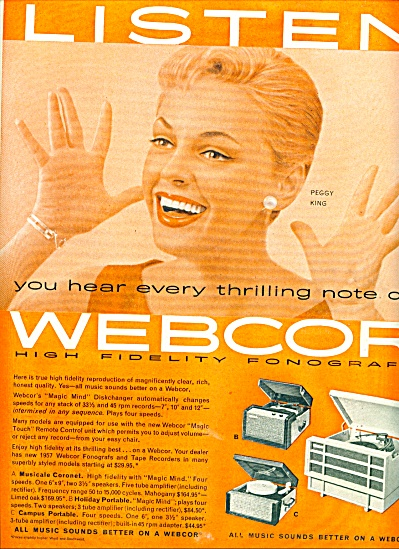 Webcor - PEGGY KING  ad 1956 (Image1)