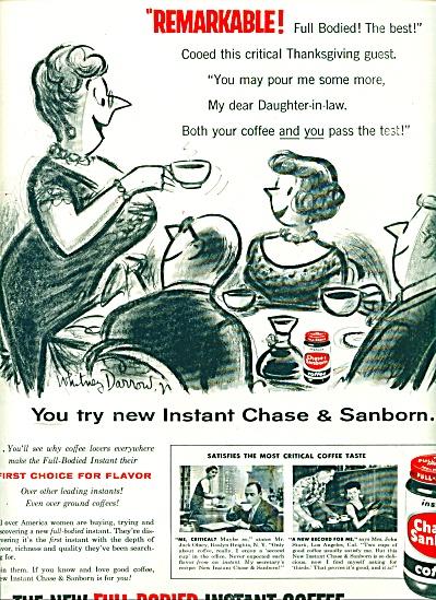 1956 Chase & Sanborn AD WHITNEY DARROW ART (Image1)