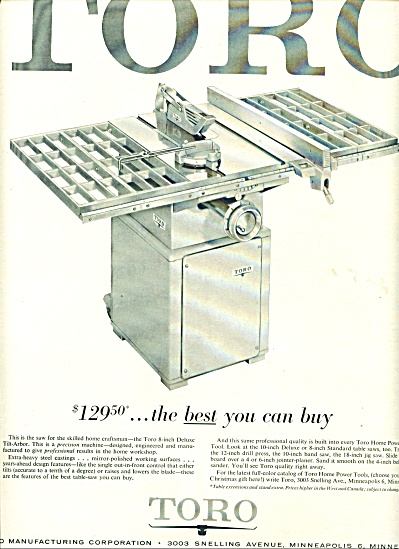 Toro deluxe tilt arbor machine ad 1956 (Image1)