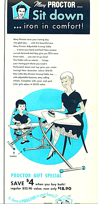 Proctor adjustable ironing table ad 1956 (Image1)