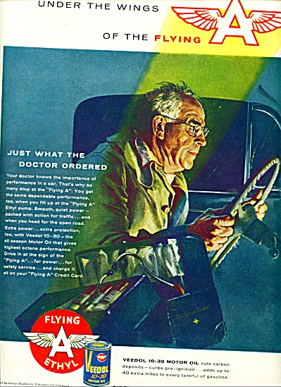 1956 Veedol Oil AD DOCTOR RACING TO PATIENT (Image1)