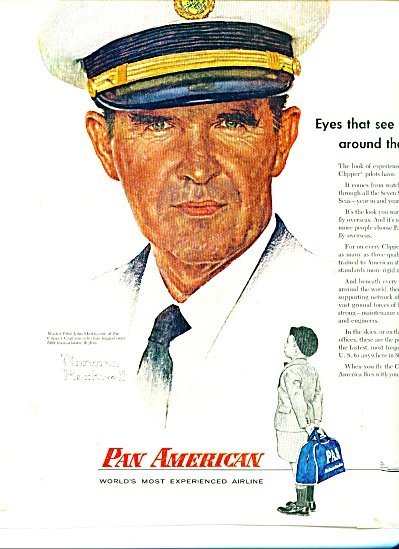 Pan American Ad 1956 Norman Rockwell Pilot