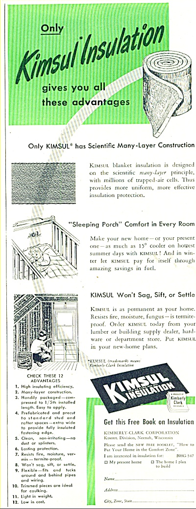 Kimsul insulation ad 1947 BLANKET INSULATION (Image1)