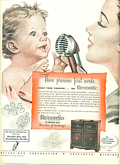 1947 Recordio Wilcox Gay Ad Art - 1st Words