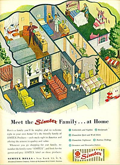1947 Simtex Mills AD Linen w/ HOME Cutout ART (Image1)
