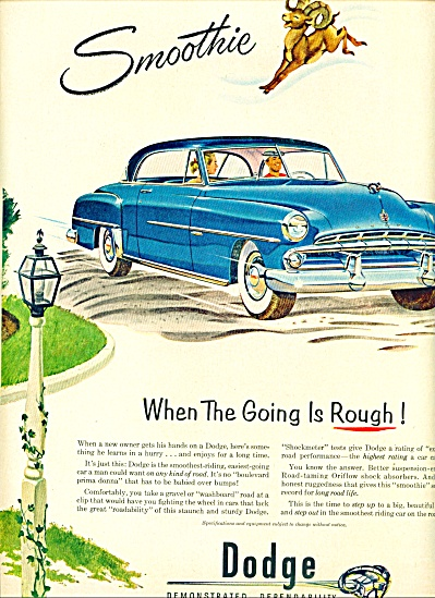 1952 Dodge Automobile CAR Promo AD Smoothie (Image1)