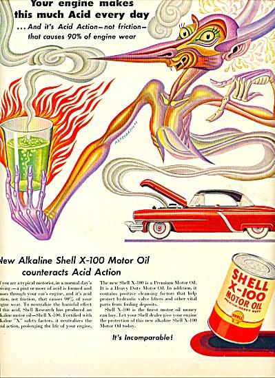 Shell X-100 Motor OIL AD ARTZYBASHEFF ART (Image1)