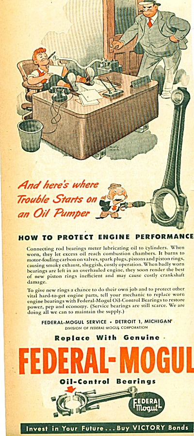 1945 Federal-Mogul Bearings AD SIP CARTOON (Image1)