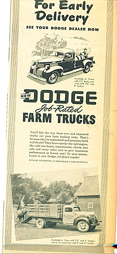Dodge Job rated farm Trucks ad 1945 (Image1)