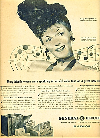 1945 General Electric Radio Ad Mary Martin