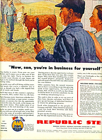 1945 Republic Steel AD E.F. WARD ART Boy COW (Image1)