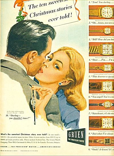 1946 Gruen Watch AD MAN - WOMAN KISSING ART (Image1)