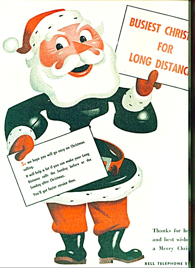 1946 Bell Telephone Ad Santa Claus