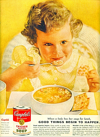 1960 CAMPBELL SOUP Little GIRL in YELLOW AD (Image1)