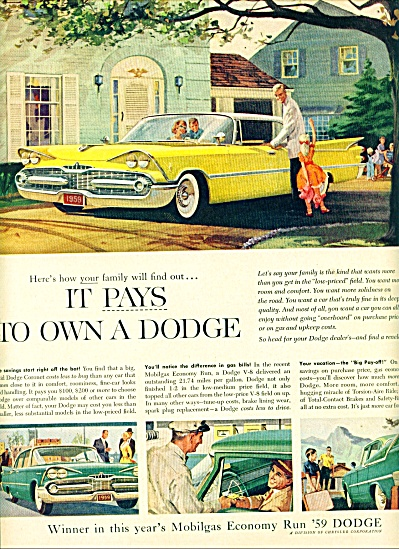 1959 Dodge Yellow Car PROMO AD Cool Art (Image1)