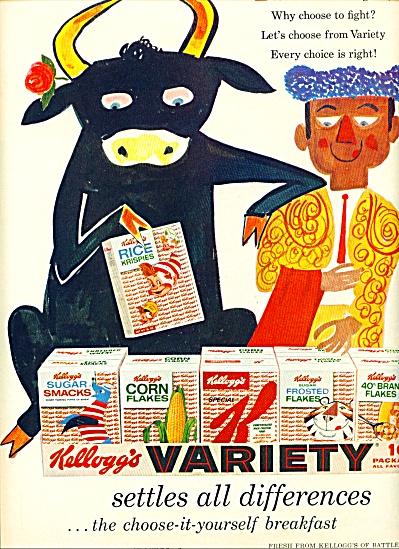 1958 Kellogg's Cereal AD Brave BULL BULLFIGHT (Image1)