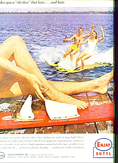 1958 Enjay Butyl AD - Water SKIING Pleasure (Image1)