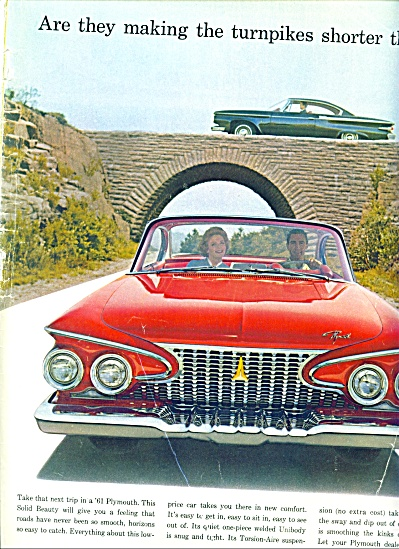 1961 Plymouth RED CAR Promo AD (Image1)
