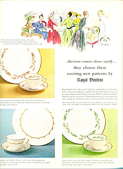 1954 Royal Doulton China Ad Autumn Breezes, +