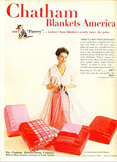 1954 Chatham PURREY Kitten blankets ad (Image1)