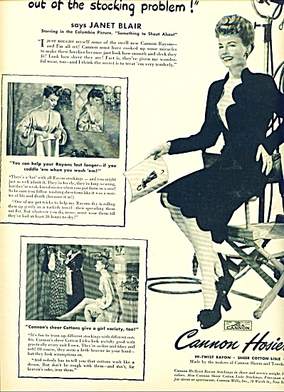 Cannon Hosiery - Janet Blair Ad 1943