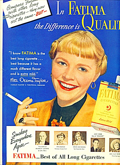 1951 Fatima Cigarettes Ad Ms Deems Taylor Art