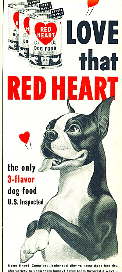 1951 Red Heart Dog Food AD BOXER Art (Image1)
