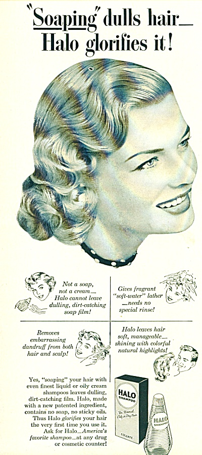 1951 Halo Shampoo Ad Stunning Blonde Hair