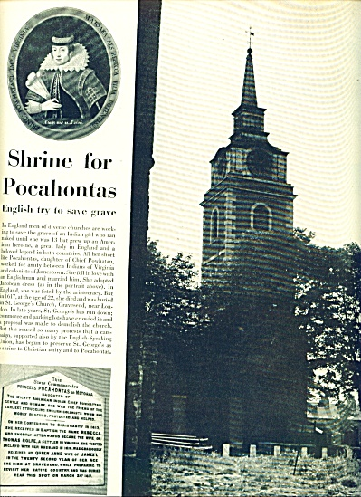 Shrine for Pocahontas story 1951 (Image1)