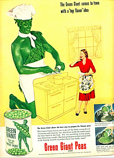 1952 Green Giant Ad W/ Apron Cooking