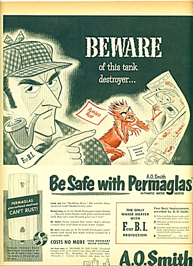 1952 A. O.Smith Permaglas AD ART HICKS BEWARE (Image1)