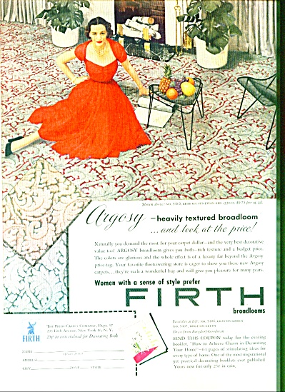 1952 Firth Broadloom Carpet AD Lady in RED (Image1)