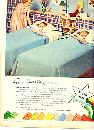 1952 North Star Blanket AD TWIN GIRLS ASLEEP (Image1)