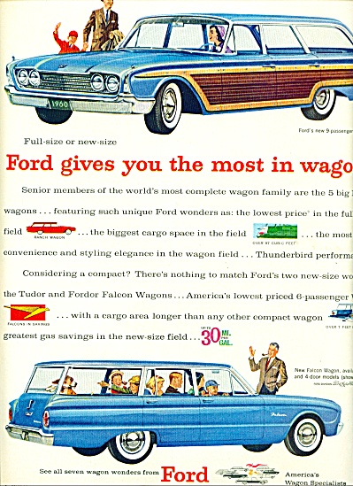 1960 Ford Station Wagon AD COOL BLUE CAR ART (Image1)