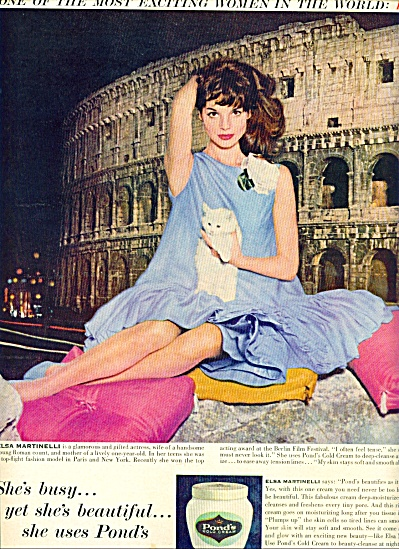 1959 Ponds cream - ELSA MARTINELLI  AD (Image1)