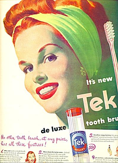 1947 TEK Toothbrush AD REDHEAD Woman ART (Image1)