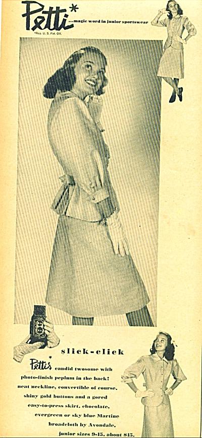 1947 Petti Junior Sportwear CLOTHING AD ~ Fashion Model (Image1)