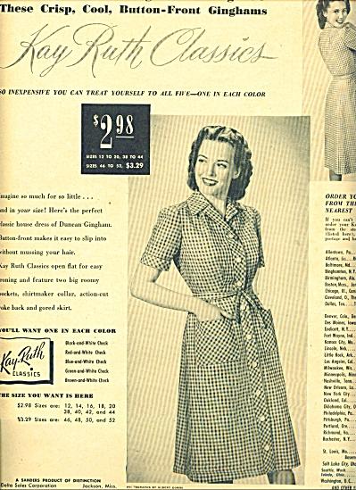 1951 Kay Ruth Classics GINGHAM DRESS AD (Image1)