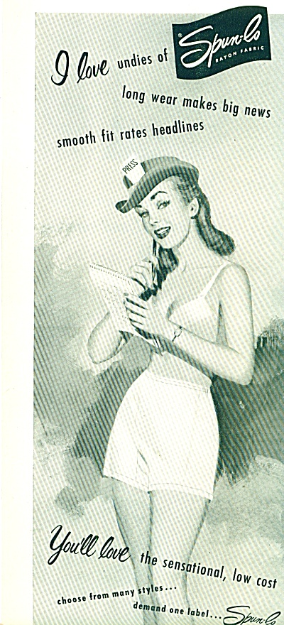 1951 SPUN LO I LOVE UNDIES AD -  PRESS (Image1)
