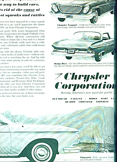 Chrysler Corporation automobiles ad 1960 (Image1)