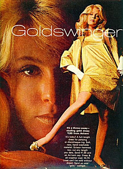 1968 Goldswinger gold dress AD BLONDE FASHION (Image1)