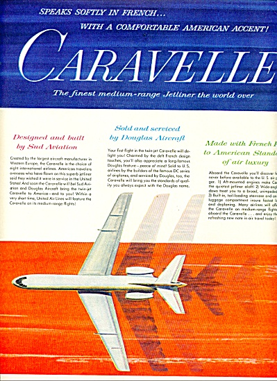 1961 - Caravelle Medium Range Jetliner Ad
