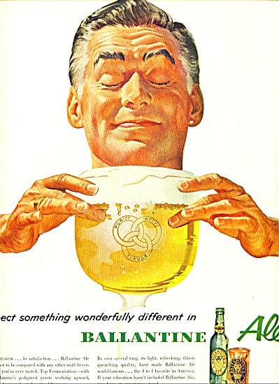 1953 - Ballantine ale ad MAN EYES CLOSED ART (Image1)
