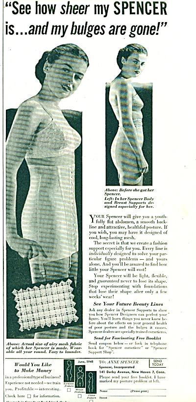 1948 - Spencer Bra Girdle Ad Before - After