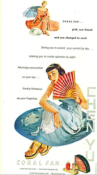 1948   Coral Fan lipstick  ad CHEN YU DARING (Image1)