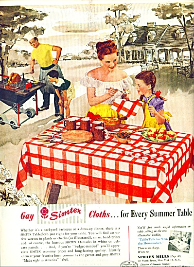 1948 - Simtex Mills Cloths For Summer Table